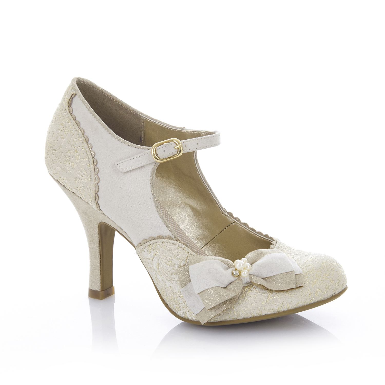 Ruby SHOO ZAPATOS arco Maria Mary Jane Jane Jane UK3-9 EU36-42 Blanco Plata Oro Crema Nupcial 4460b7