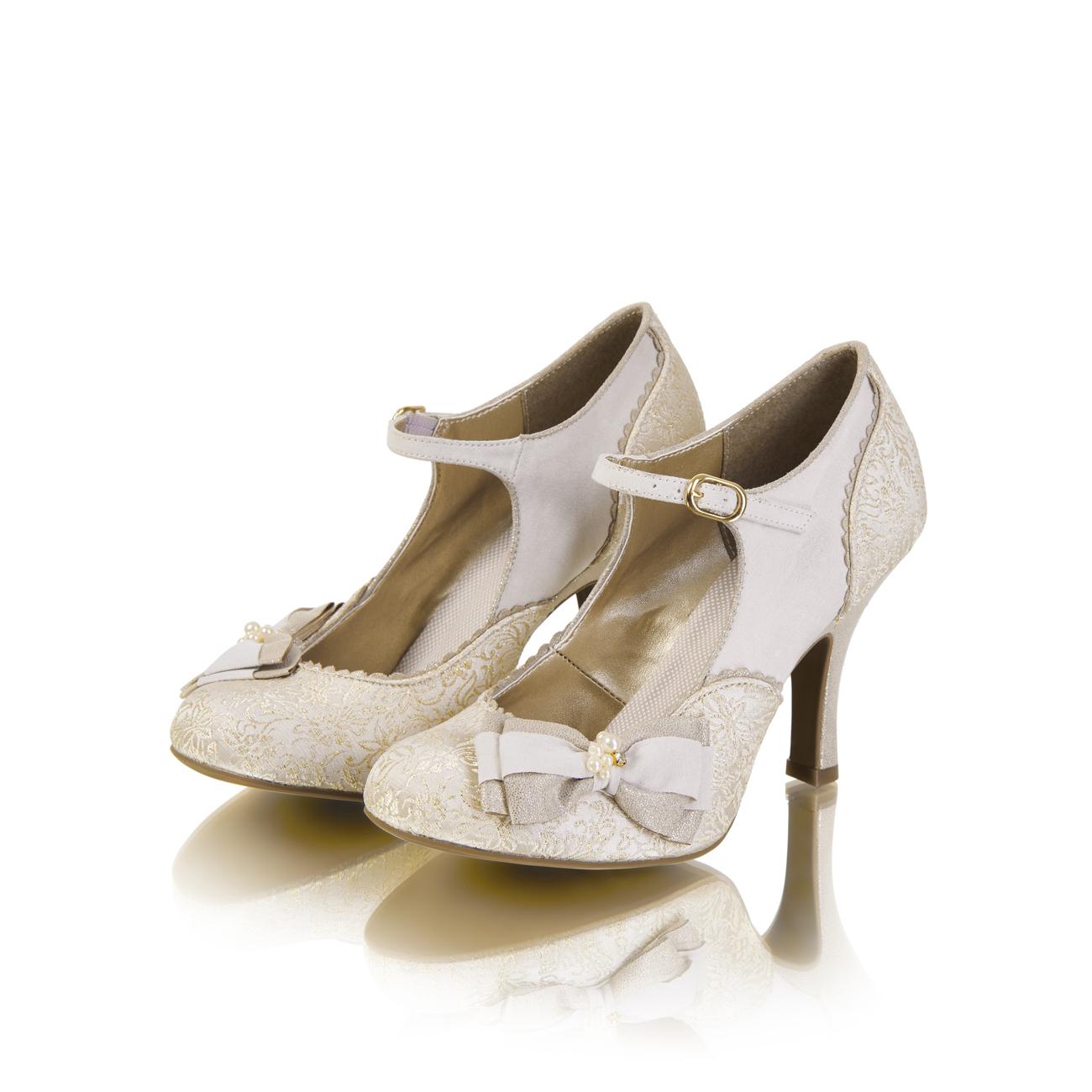 Ruby Shoo Maria Mary Jane Bow Schuhes UK3-9 EU36-42 Cream Bridal WEISS Silver Gold Cream EU36-42 392422