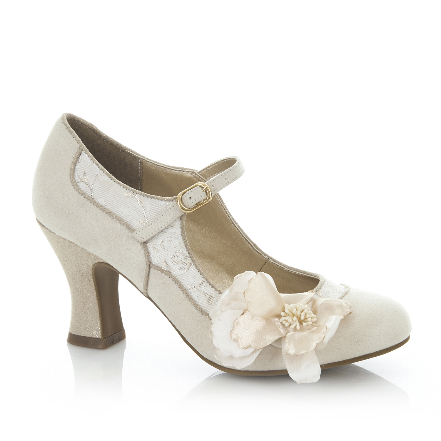 Ruby Shoo Madelaine Mid Heels & Matching Bologna Bag UK 3-9 Bridal Cream White