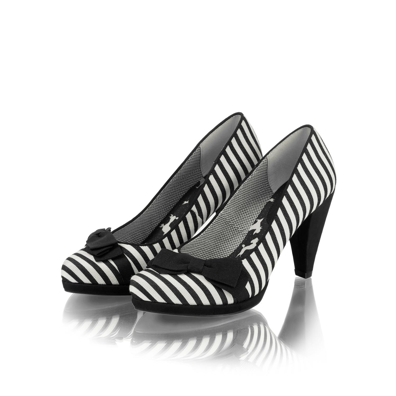 f620b95ac Ruby Shoo Susanna Bow High Heel Court Shoes UK 3-9 Black Stripe Red ...