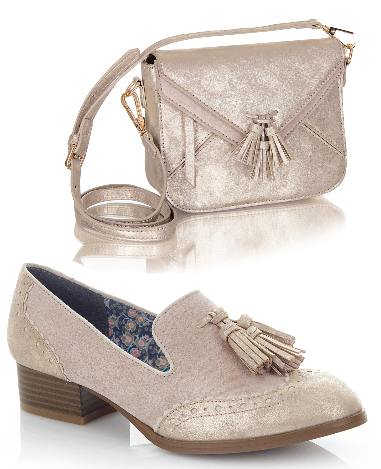 NEW Ruby Shoo Brooke Matching Niedrig Heel Loafers & Matching Brooke Cancun Bag UK3-9 EU36-42 85fcf5