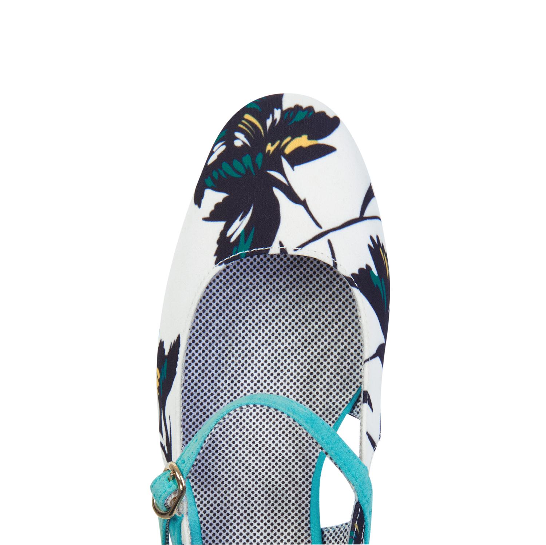 NEW Ruby Shoo Iris Low Heel Pumps UK3-9 EU36-42 White Aqua Aqua White / Ochre Floral 4bfb18