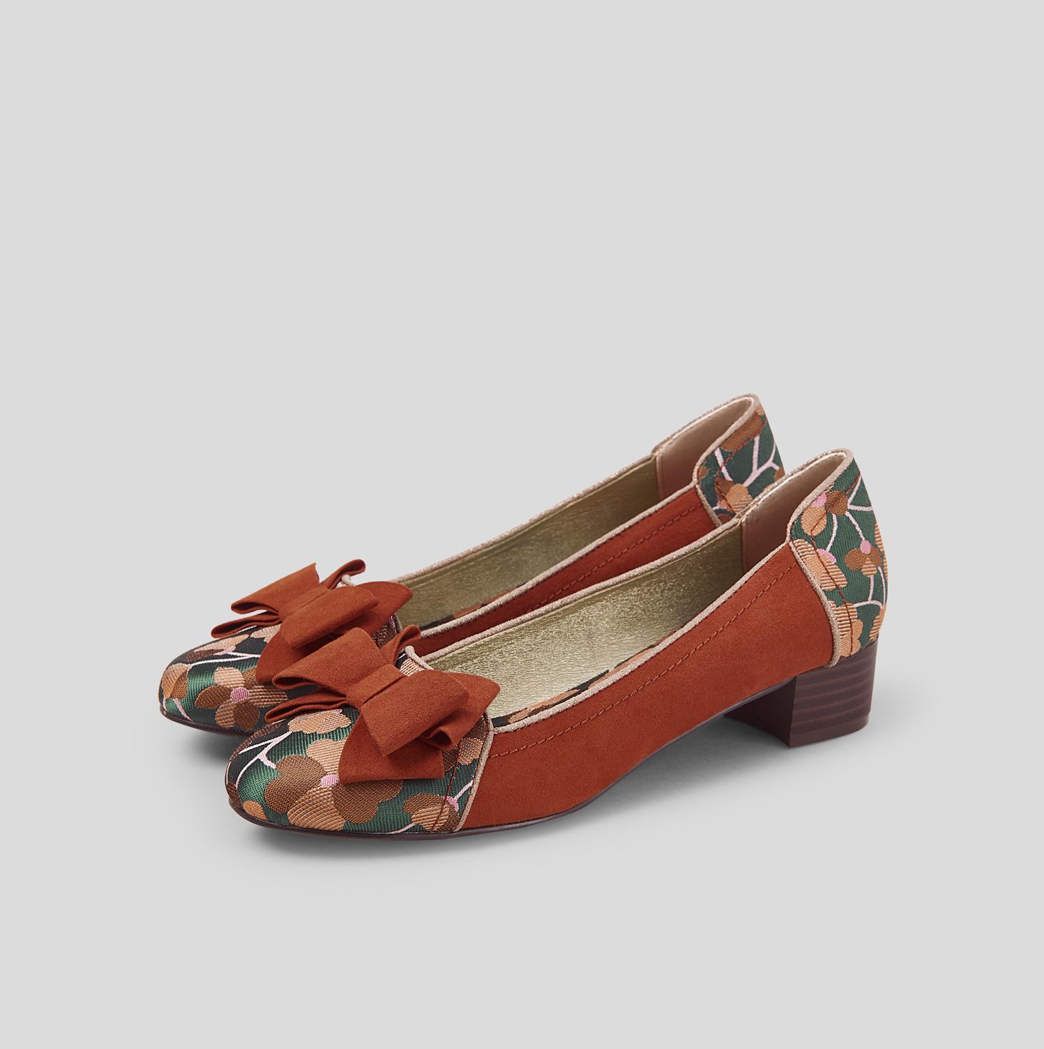 Ruby SHOO Aurora Aurora SHOO Tacón Bajo Glam Bombas Zapatos Sin taco con arco Reino Unido 2 - 9 EU 35-42 490312