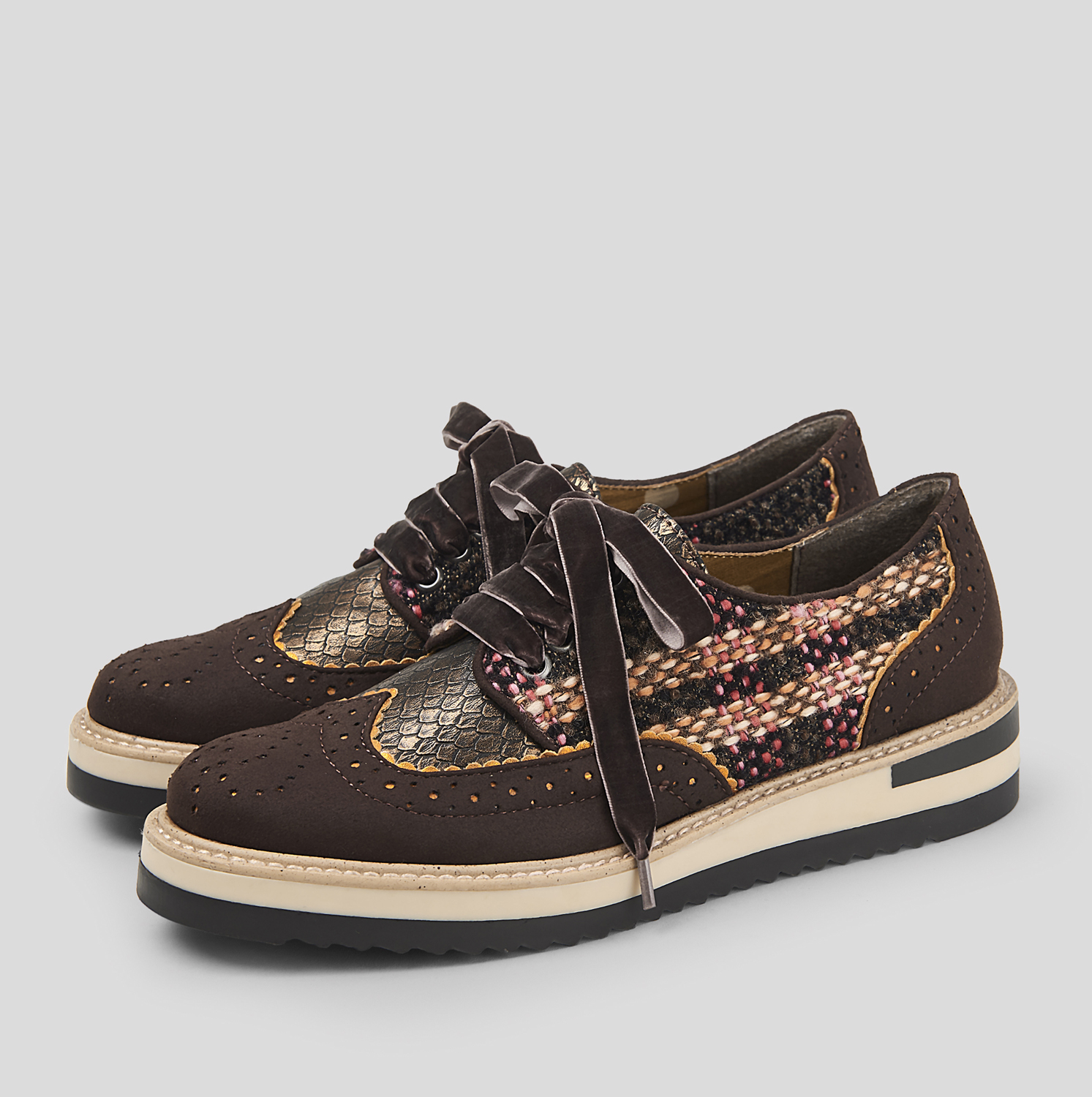 Ruby Shoo Davina Lace Up   Up Loafer Schuhes Chocolate Tweed UK 2- 9 EU 35-42 d824ae