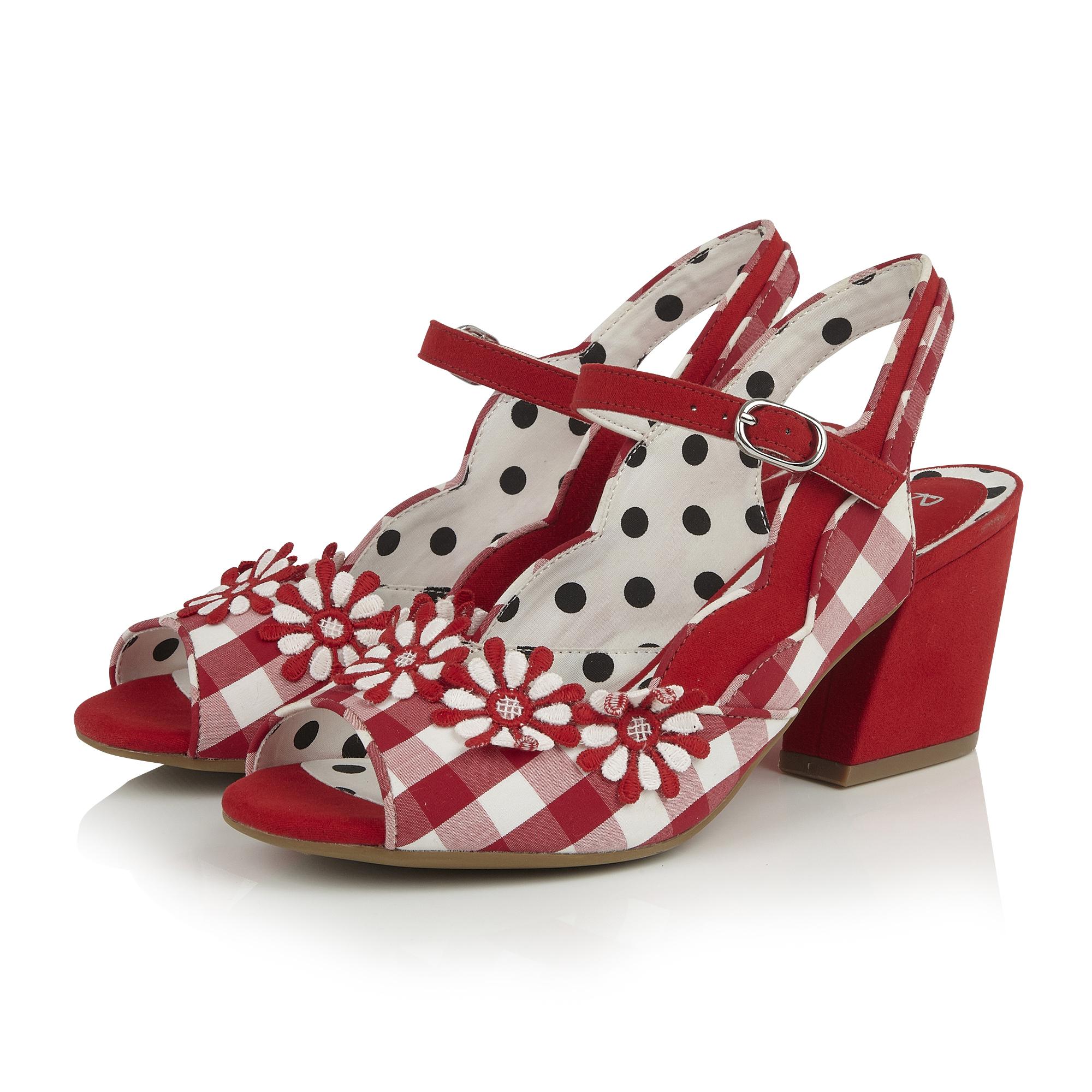 33e4f1b430f Details about Ruby Shoo Hera Gingham Block Heel Peeptoe Sandals & Matching  Mendoza Bag UK 2-9