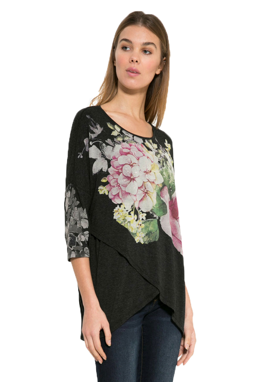 Rrp Shirt Xxl Nati Top 34 Sleeve Desigual Uk T Floral Xs Black 18 8 pgqnY1O