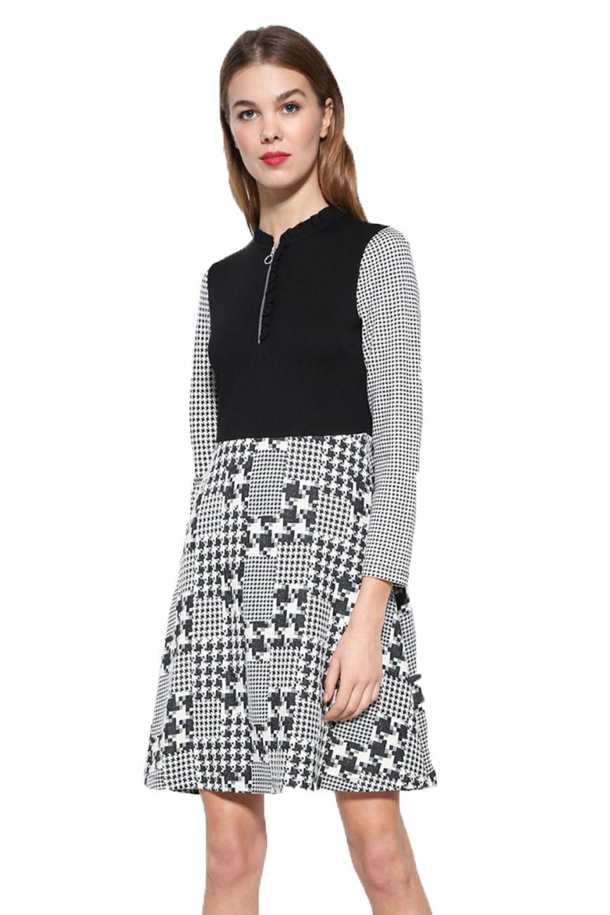 22d4045c77c97d Desigual Black   White Zip-Up Check Celine Dress XS-XXL UK 8-18 RRP  109