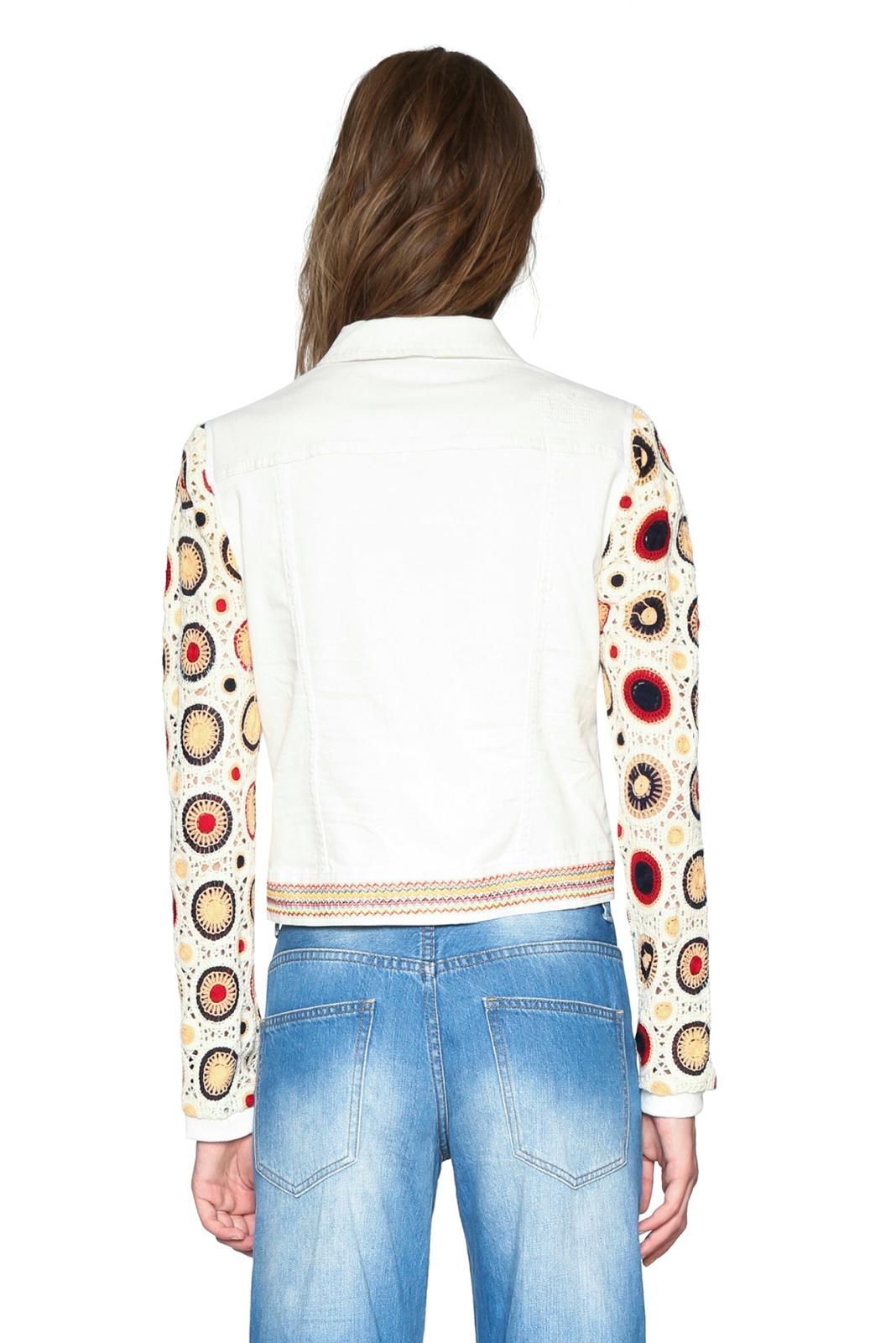 Desigual Women's Kenya Denim Crochet Sleeve Jacket