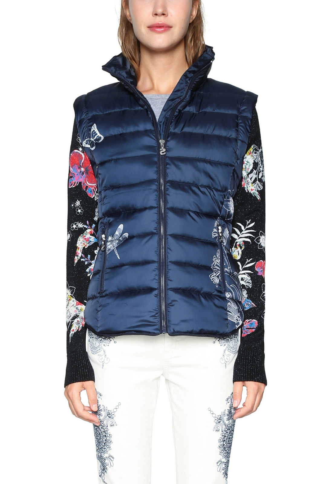 outlet on sale run shoes best shoes Details about Desigual Padded Blue Alexa Coat Jacket Knit Floral Sleeves  36-46 UK8-18 RRP?139