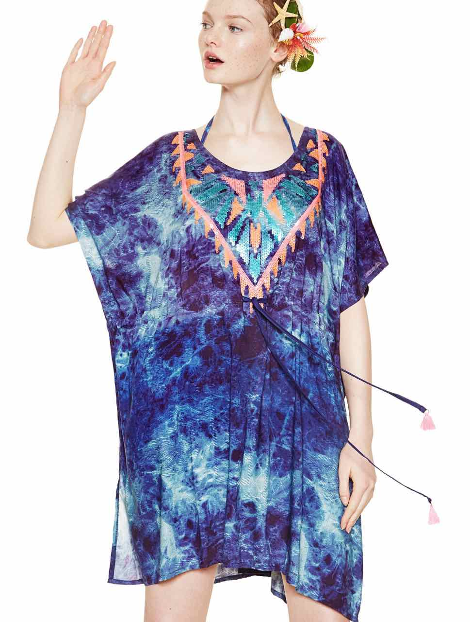 Desigual Blue Tie-Dye France Kaftan Top S-