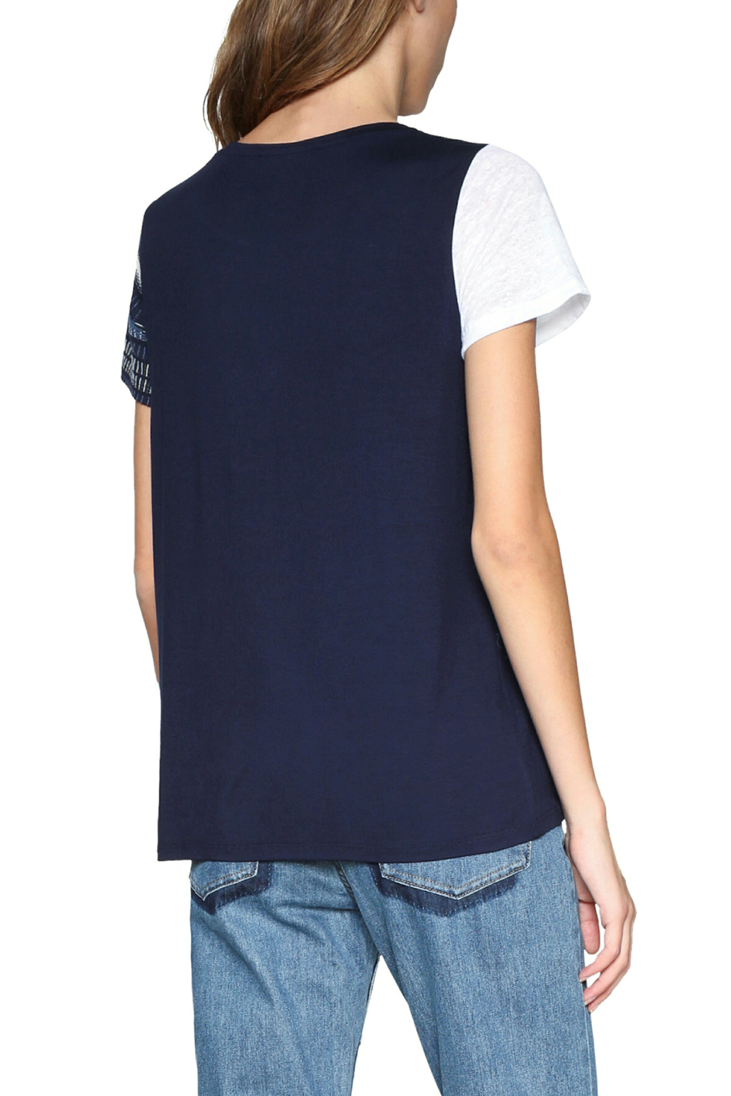 White Desigual 18 Uk 49 Blue 8 Patchwork amp; Top Rrp xxl Tshirt Bemus Xs TqqwZ1XxH