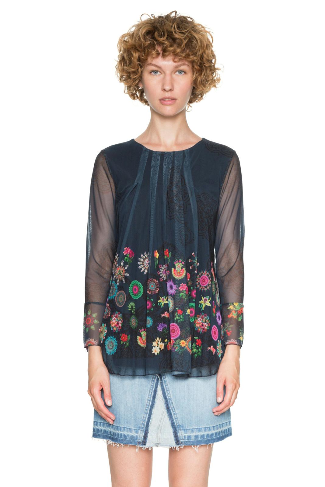 Desigual Black Chruse Chiffon Long Sleeved Top Floral Mandala XS-XXL 8-18 RP?74