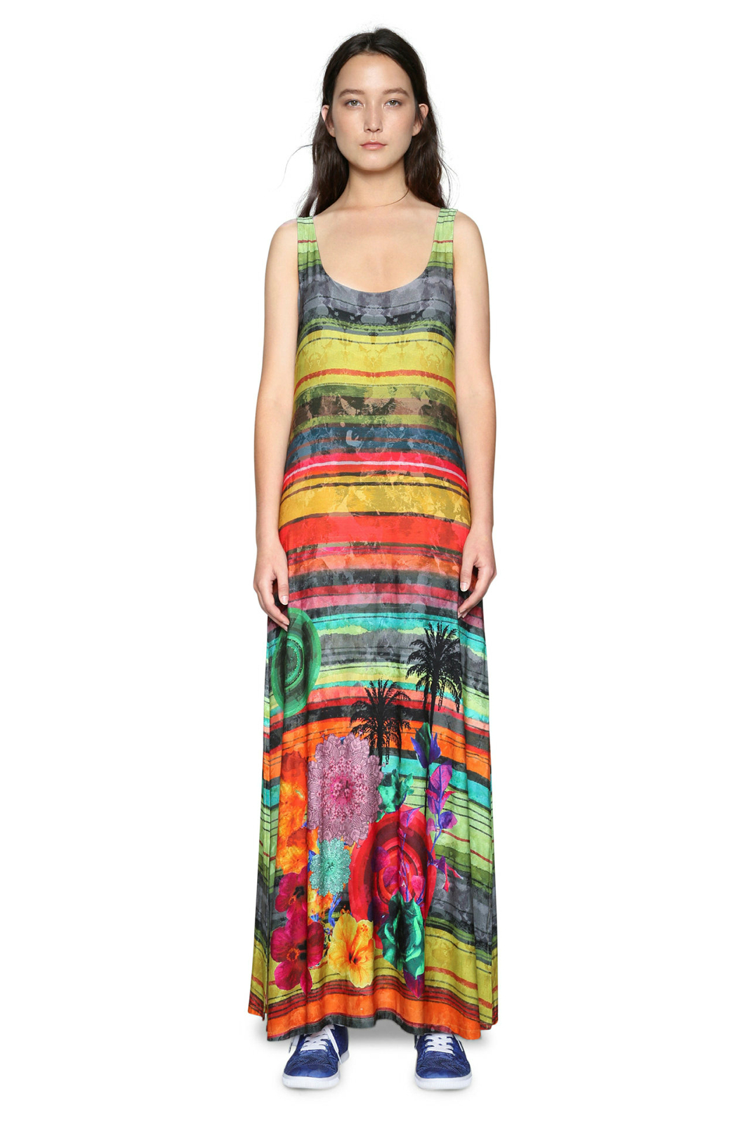 Desigual Lauren Abito Lungo XS-XXL UK 8-18 RRP 94 tropicali a righe colorate