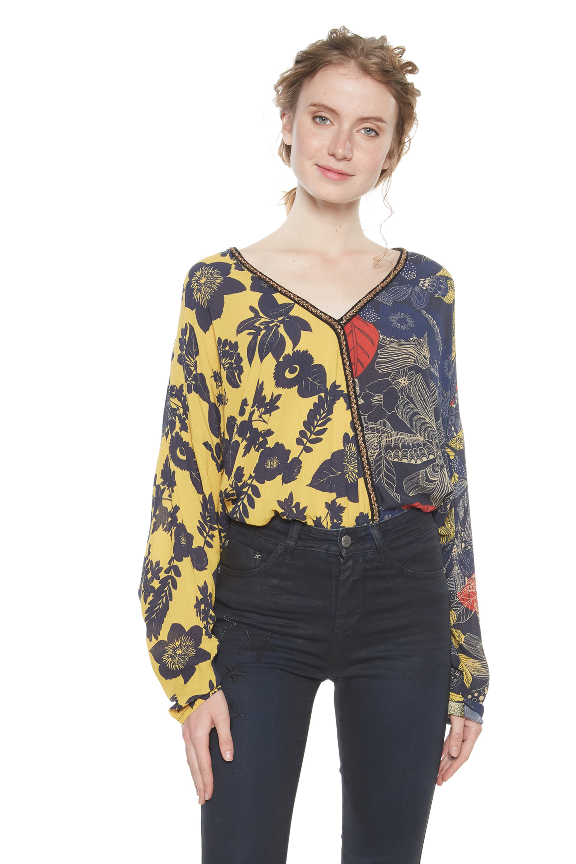 Desigual Nuuk Blouse Yellow Floral Gold Trim XS-XXL UK 8-18 RRP£74 ... eb92206e405