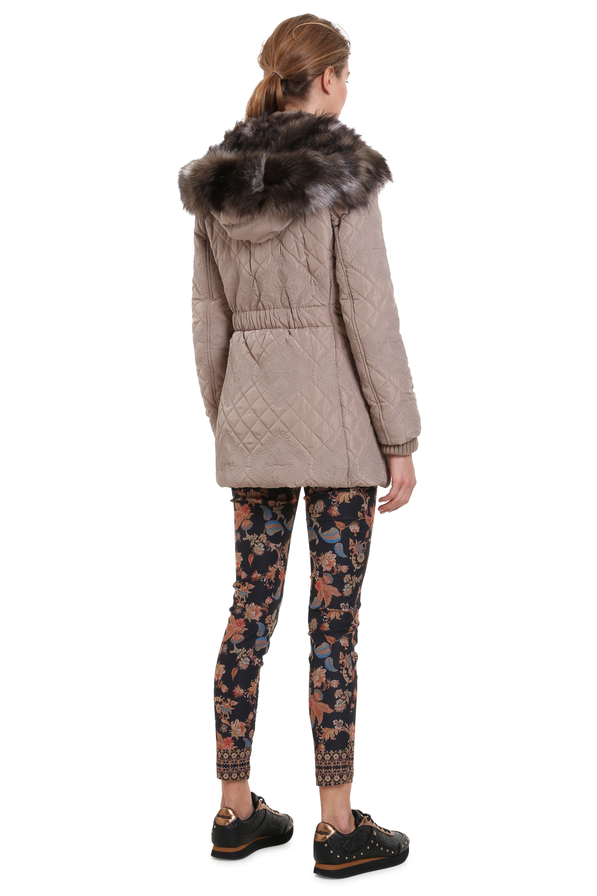 Quilted Maca Rrp£184 Coat Winter Warm 18 black Uk8 Puffa 36 Beige red Jacket Padded 46 Desigual 4xTUwtq1T