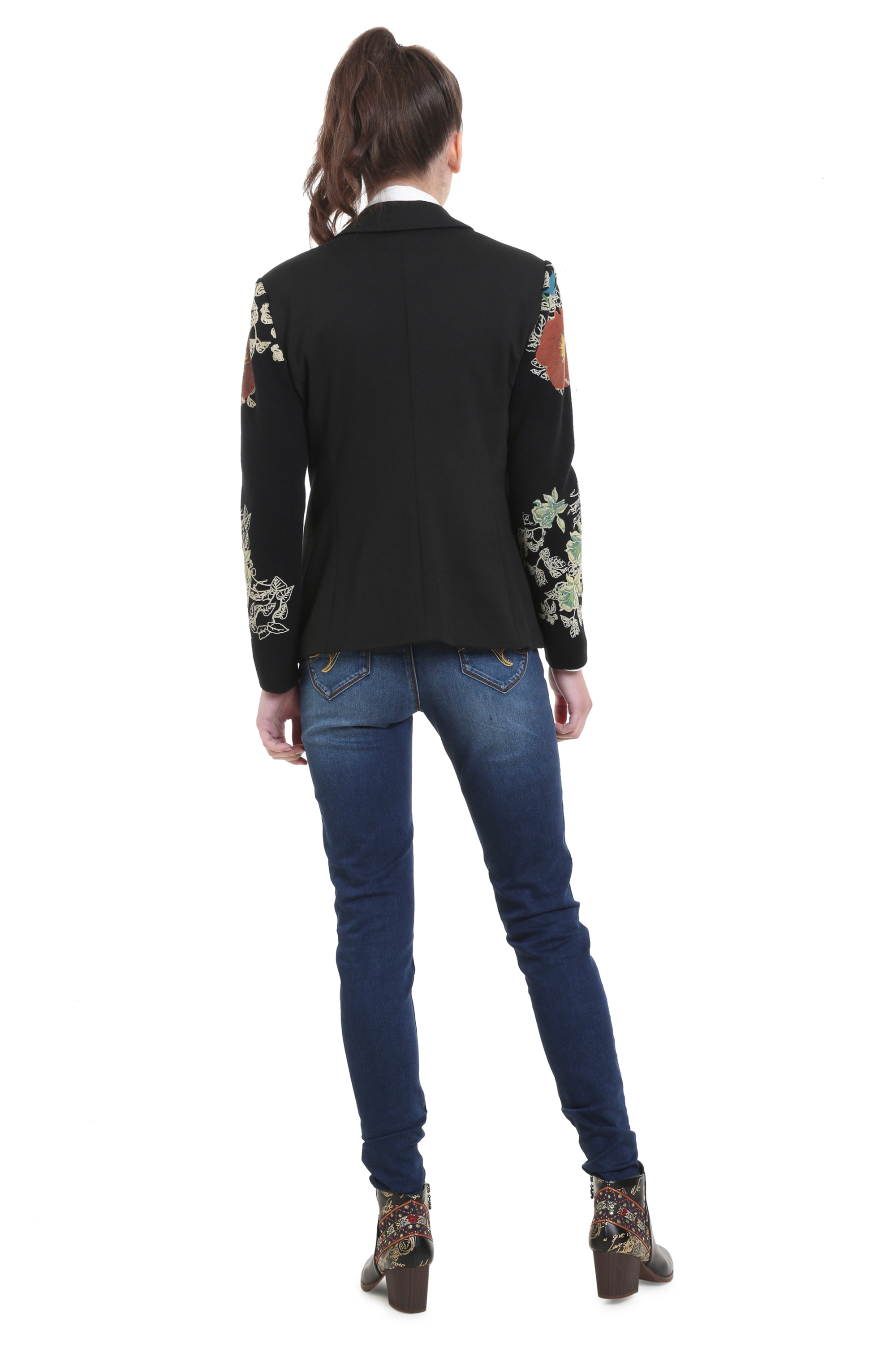 Desigual Boise Black Blazer Jacket Knit Print Sleeves 36-46 UK8-18 RRP£119
