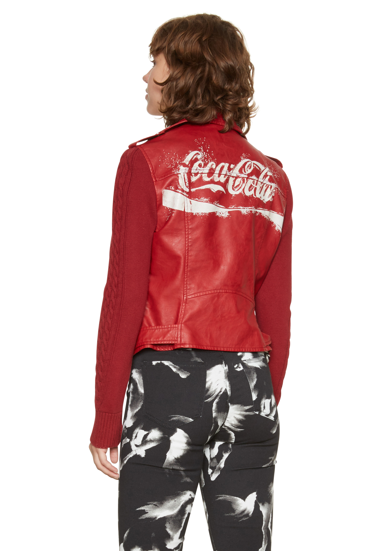 Desigual Red Lucy Faux Leather Coca Cola Coke Biker Jacket 36-46 UK 8-18 RRP£159