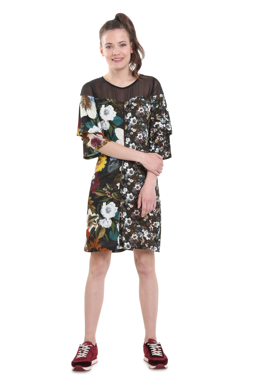 Desigual Natty Dress Long Sleeved Mix Print Flattering XS-XXL UK 8-18 RRP ?84