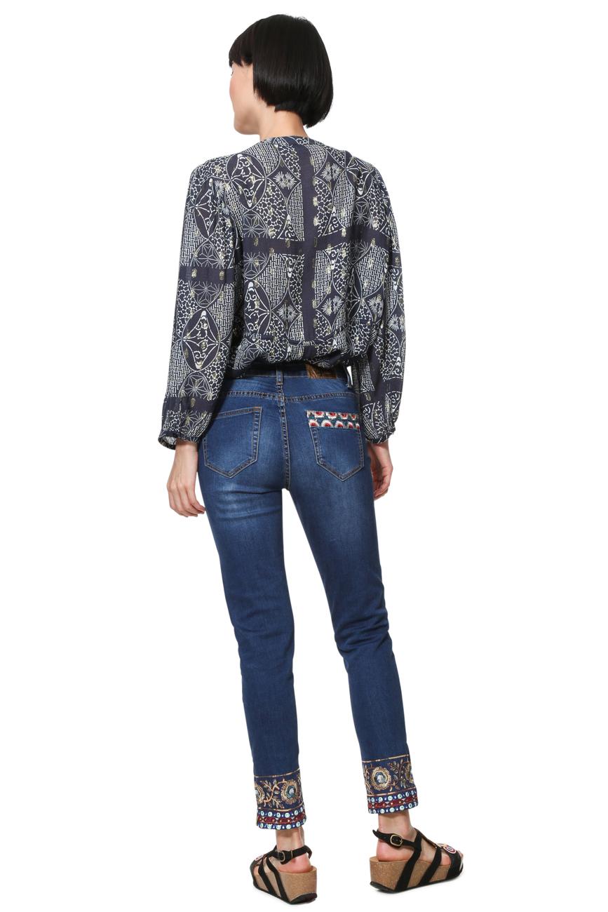 Desigual Women/'s Delfos Ankle Grazer Tropical Palm Tree Jeans 26-34 UK 8-16 £94
