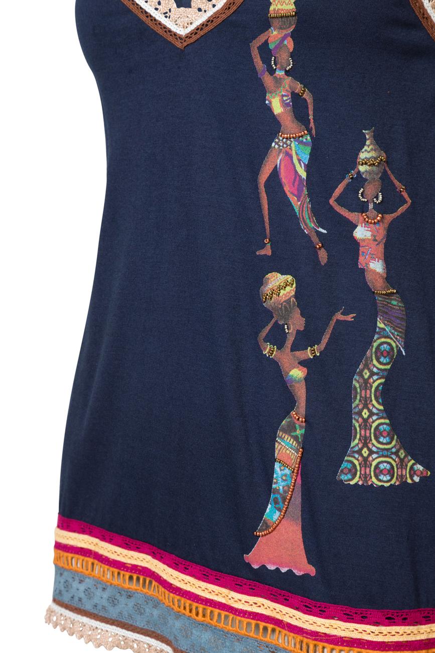 Desigual Blue Yandira African Woman Strappy Top S-XL UK 10-16 RRP£49