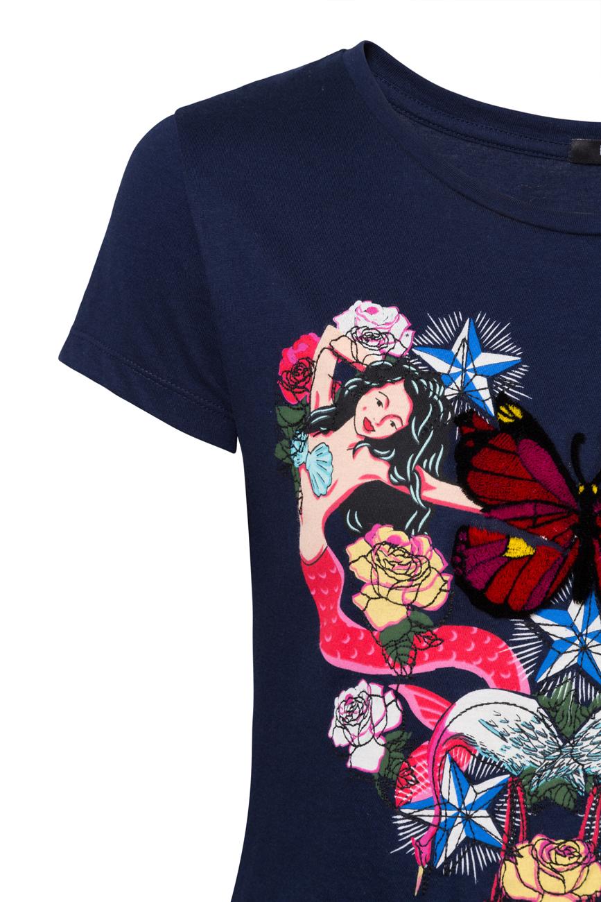 Desigual Blue Noa Heart Mermaid Butterfly Tshirt Top S-XL UK 10-16 RRP£44