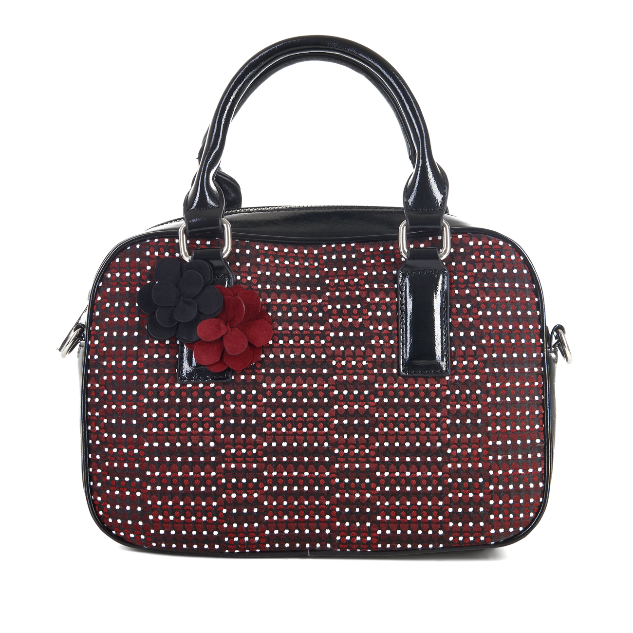 Ruby Shoo Large Seoul Bowling Bag Black Red Freya