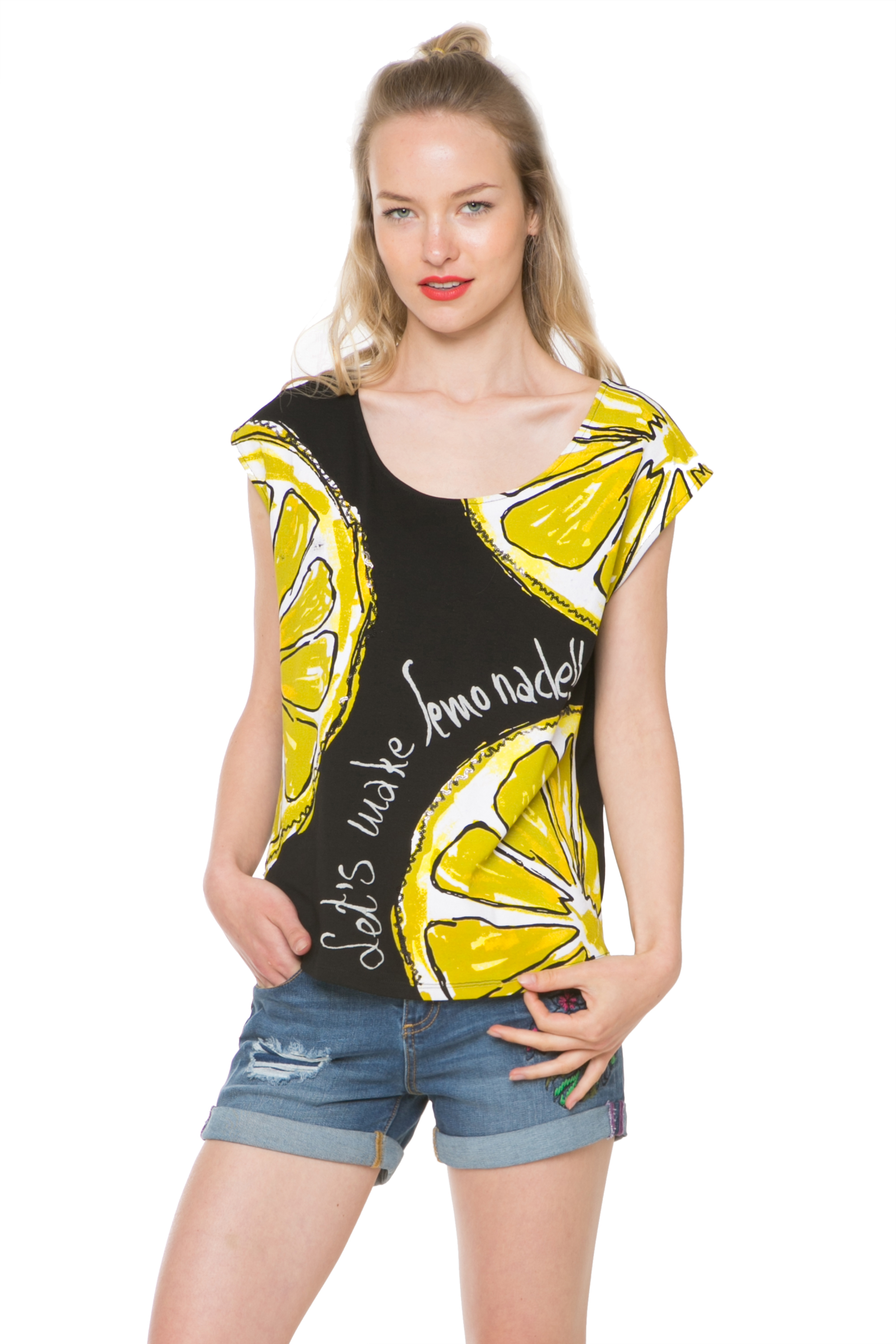 90076d55b52634 Desigual Lemon Print Black White Noemi T-Shirt S-XXL UK 10-18 RRP£44 ...