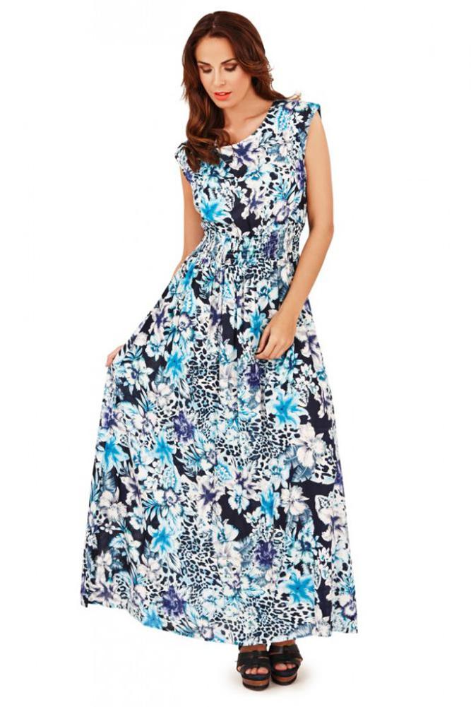 Pistachio Black Floral Print Maxi Dress Purple /& Blue V Neck /& Back UK 8-22
