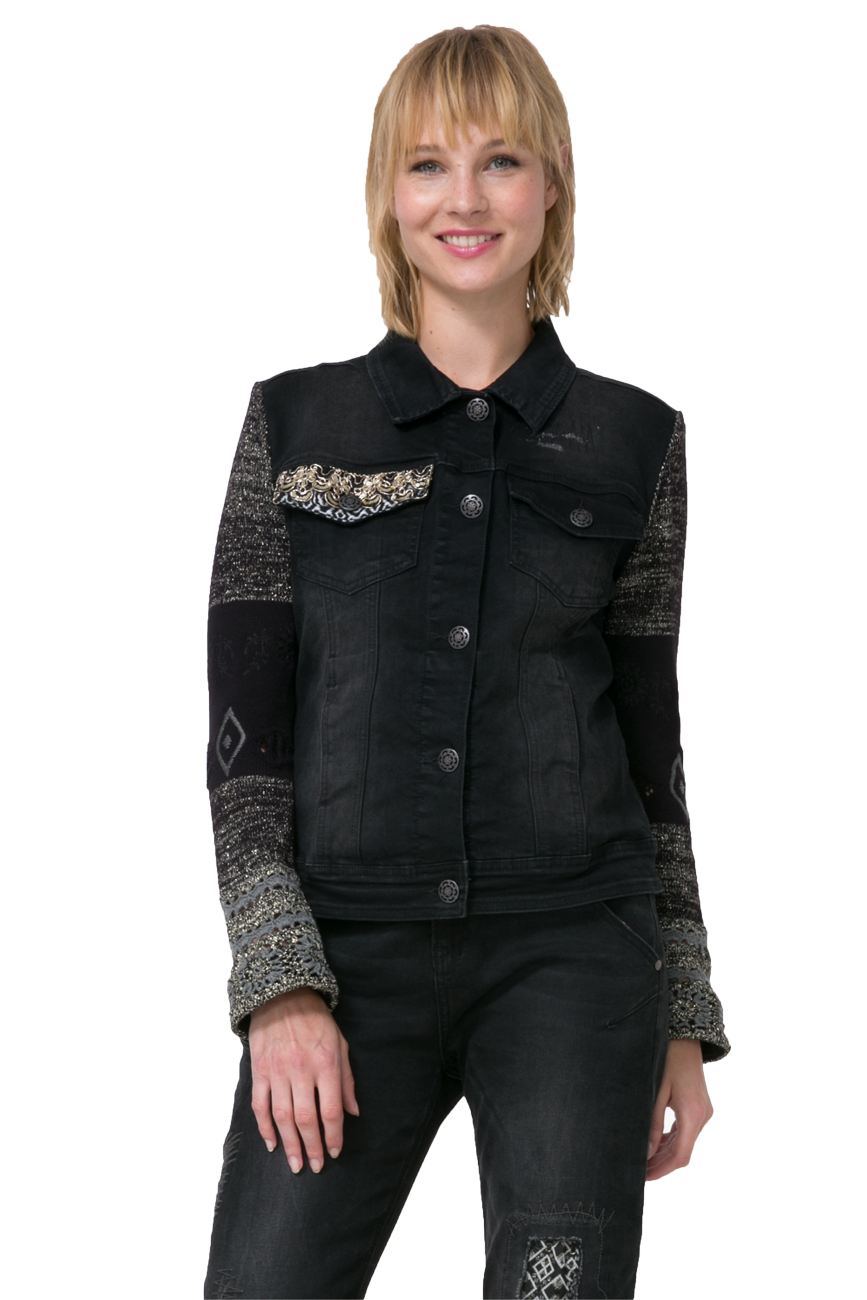 Desigual Black Sally Denim Jacket Sequins Knit Sleeves 36-46 UK 8-18 RP 129 6bdfb677c474