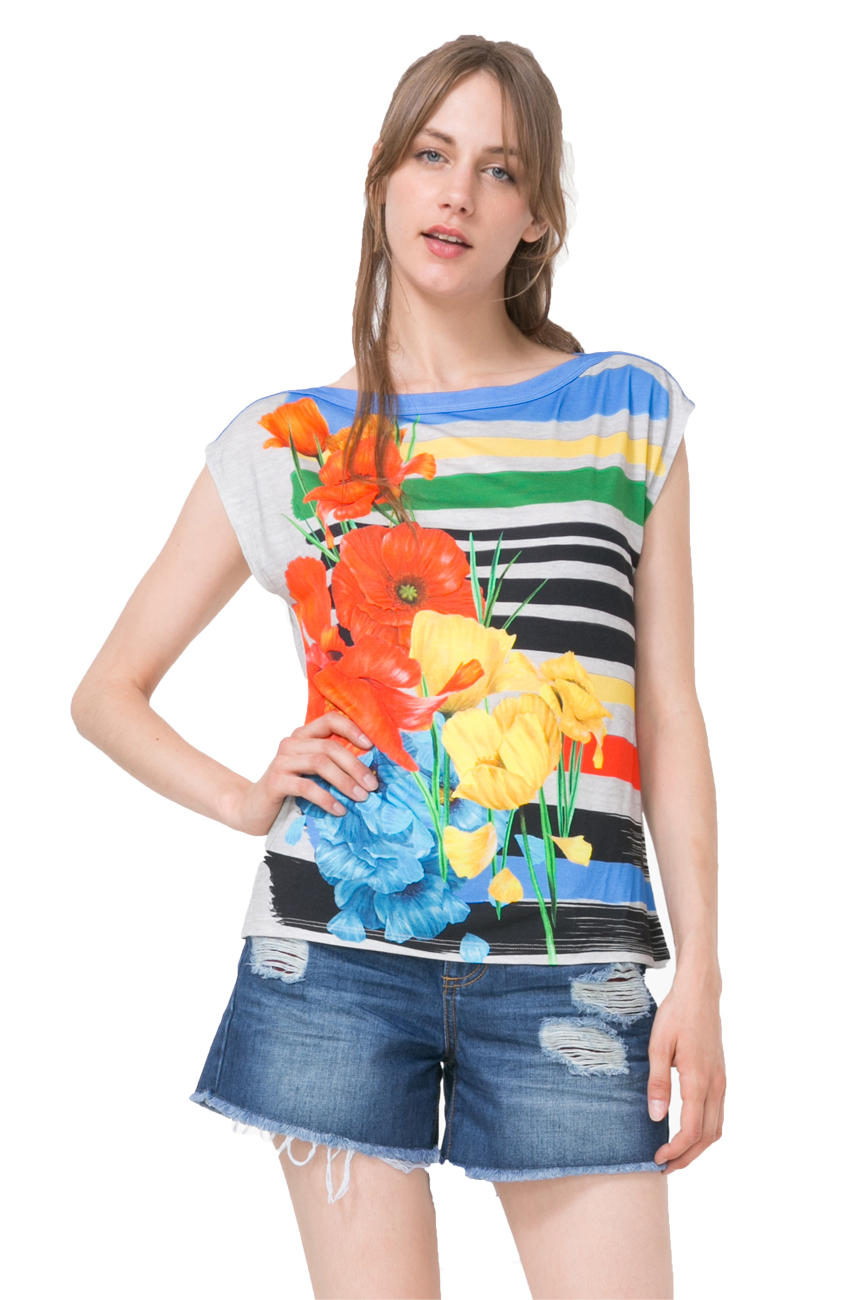Desigual Bright Sarita Boat Neck Stripe Floral Tshirt Top XS-XXL UK 8-18 RRP�49