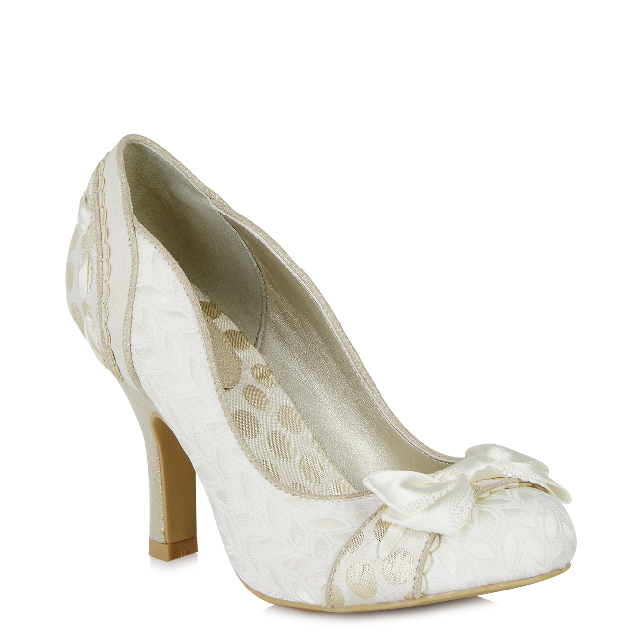 Ruby Shoo Pumps Amy Brocade Court Schuhe Pumps Shoo & Matching Palma Bag Cream Gold Pewter bcf097