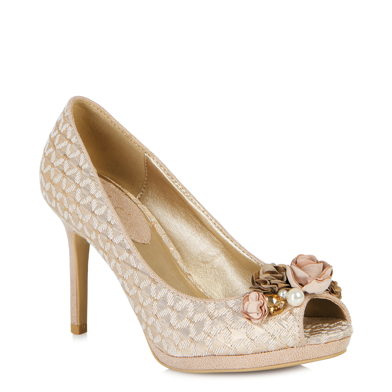 Ruby Shoo Sonia Jewelled Peeptoe Shoe Silver Rose Gold ...
