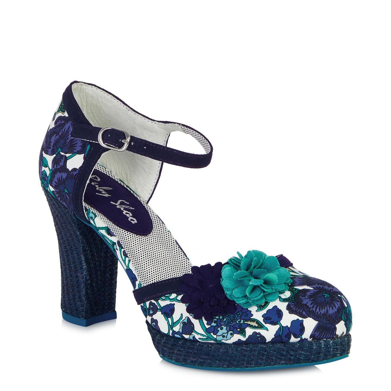 NEW Ruby Shoo Floral Raffia Heel Flo Shoes 3-8 36-41 Summer 1970s Mango Blue