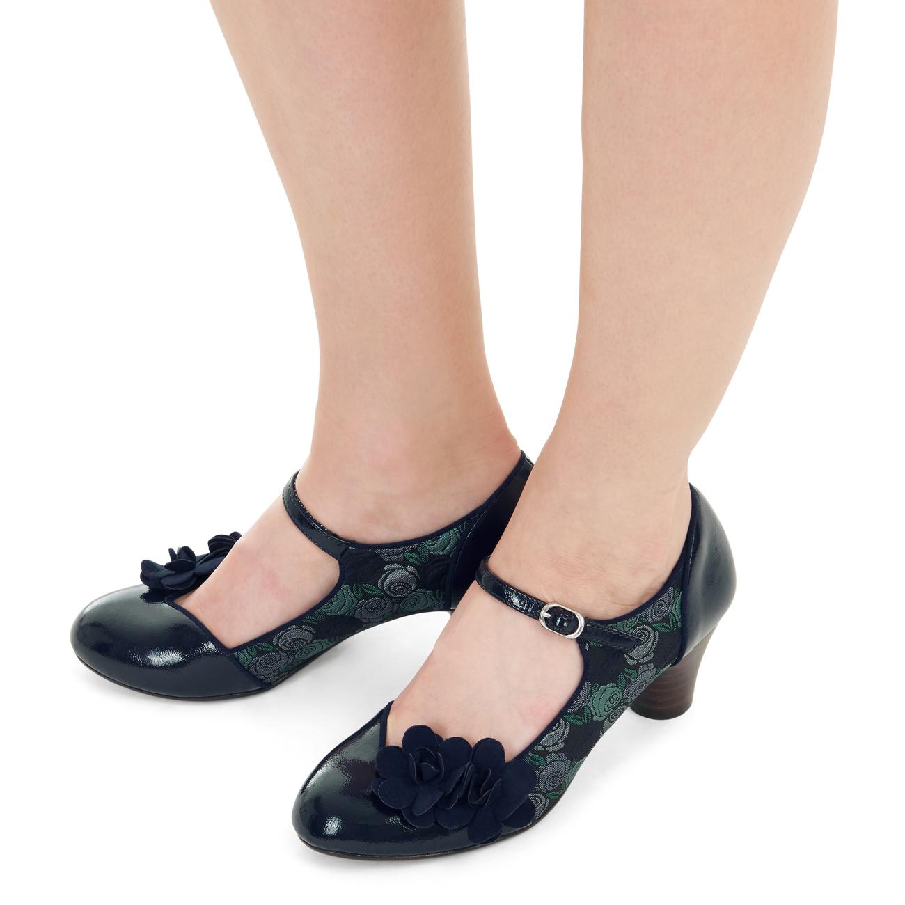 Ruby Shoo Freya Mid Heel Mary Jane Corsage Pumps 3-9 36-42 Black Blue