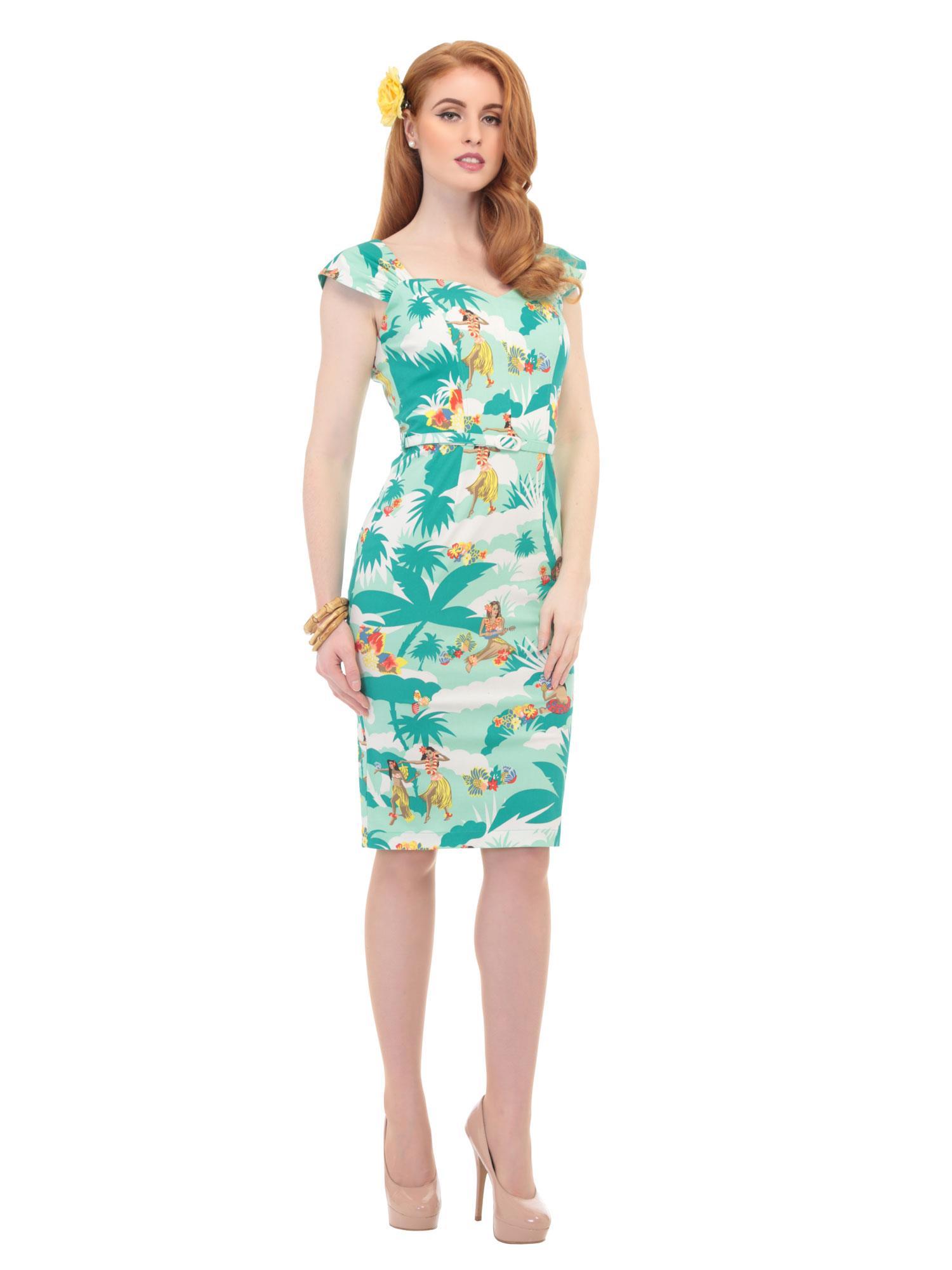 AIDA ZAK COLLECTIF SANDRA HAWAIIAN PRINT DRESS GREEN BLUE SZ 8-22 ...
