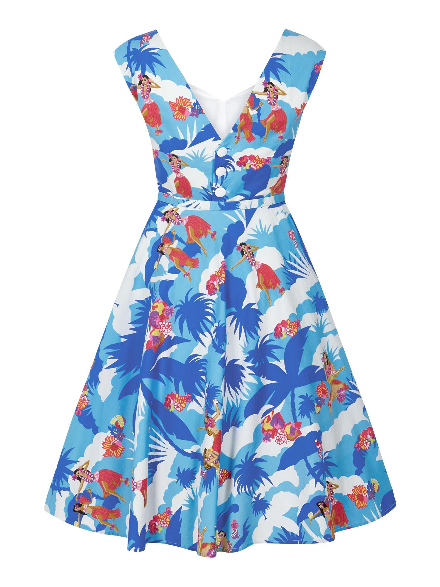 AIDA ZAK COLLECTIF SANDRA HAWAIIAN PRINT DRESS GREEN BLUE SZ 8-22 1950S
