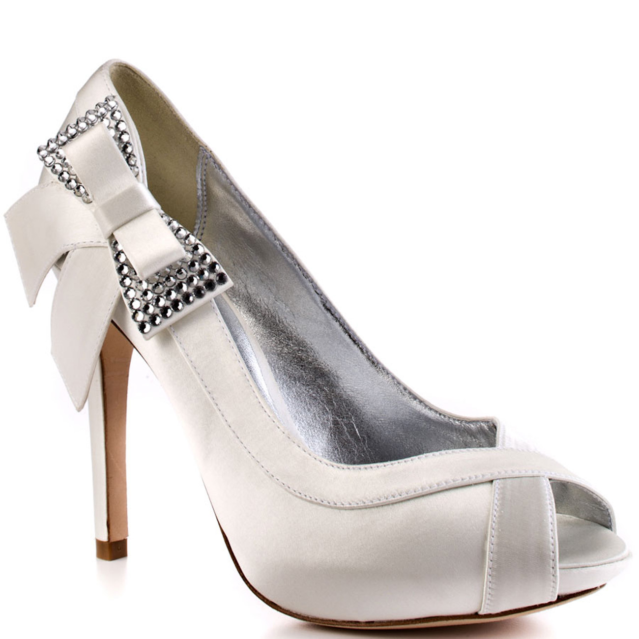 7986611746979 Details about Bourne Alexa Bridal Shoes RRP162 3-8 Ivory Diamante Crystal  Bow Peeptoe LUXURY