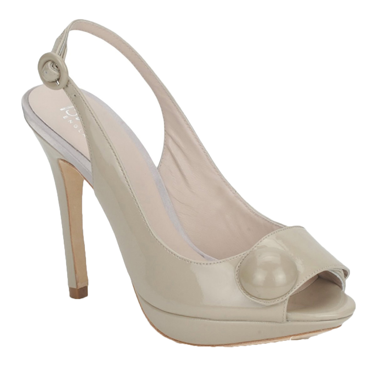 Amelie Nude details about bourne amelie shoes 3-8 rrp125 patent nude dove peeptoe  slingback style sandals