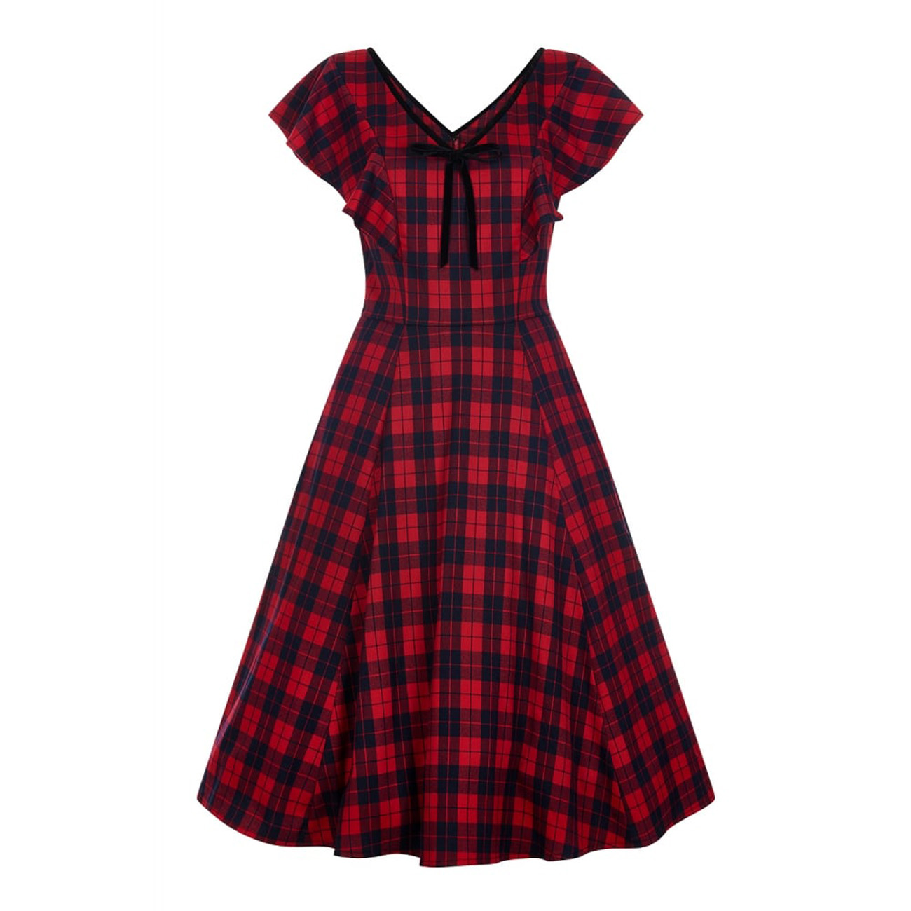 Collectif Vintage Red /& Navy Arabella Ettrick Check Swing Dress Sz 8-22 1950s