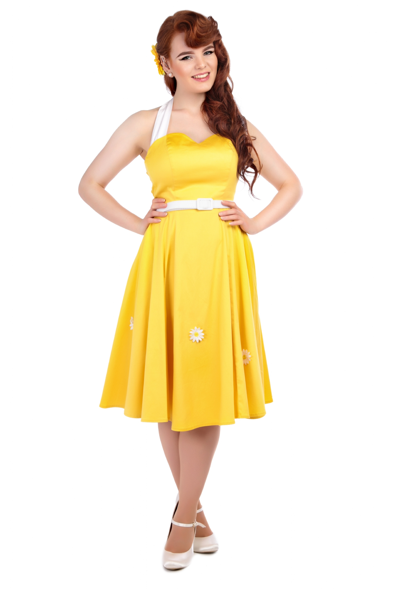 2f41af7c4 COLLECTIF VINTAGE YELLOW DAISY SWING DRESS SZ 8-22 1950 S FLARED