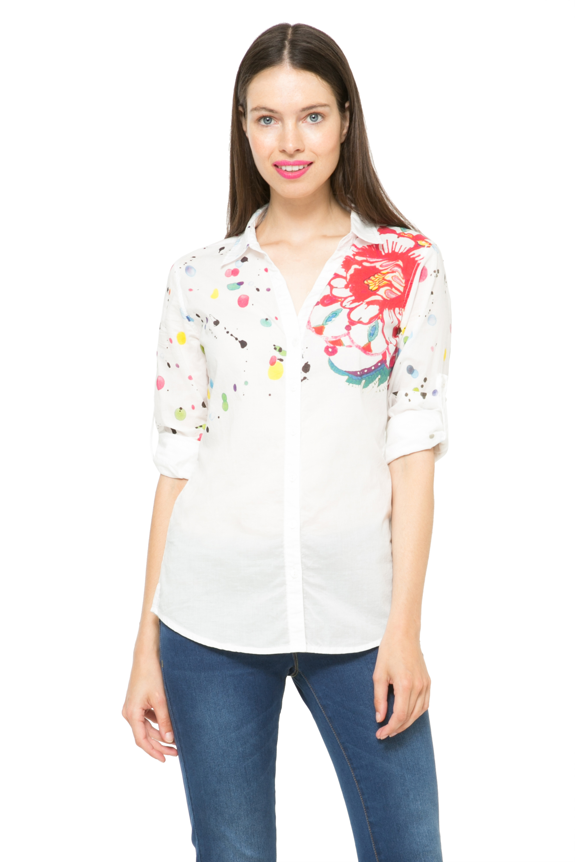 Desigual White Colorme Writing Embroidery Shirt XS-XXL UK 8-18 RRP£64