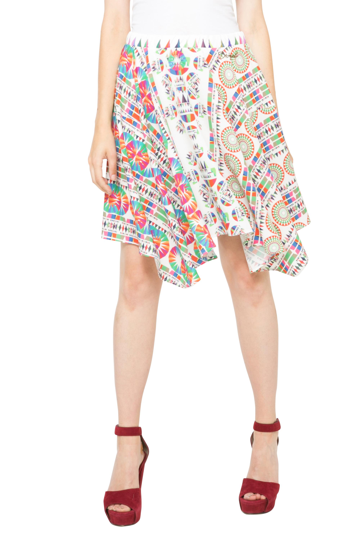 aa6952e0c525 Desigual White Multicoloured Asymmetric Imperial Skirt S-XXL UK 10 ...