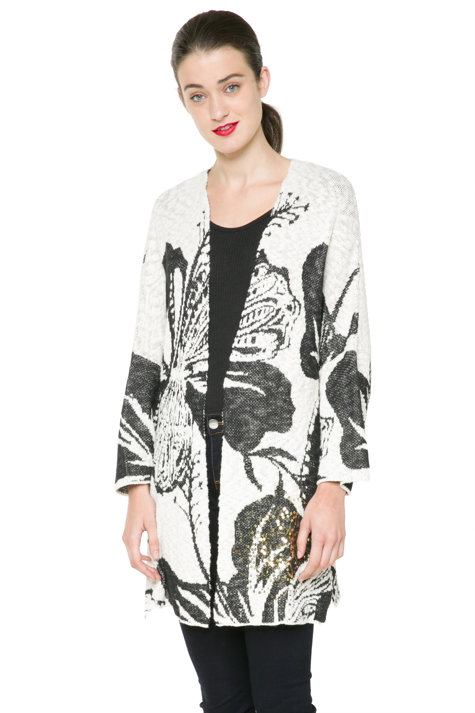 Details about Desigual Oversized Black & Off White Mykonos Cardigan S XXL UK 10 18 RRP109