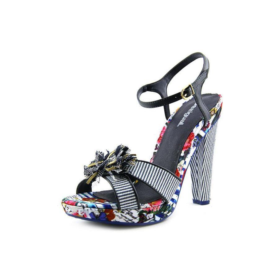 a9b54fa13b567 Desigual Pam 3 4-6 37-39 RRP 124 Sandals Nautical Stripe   Floral Canvas  Leather