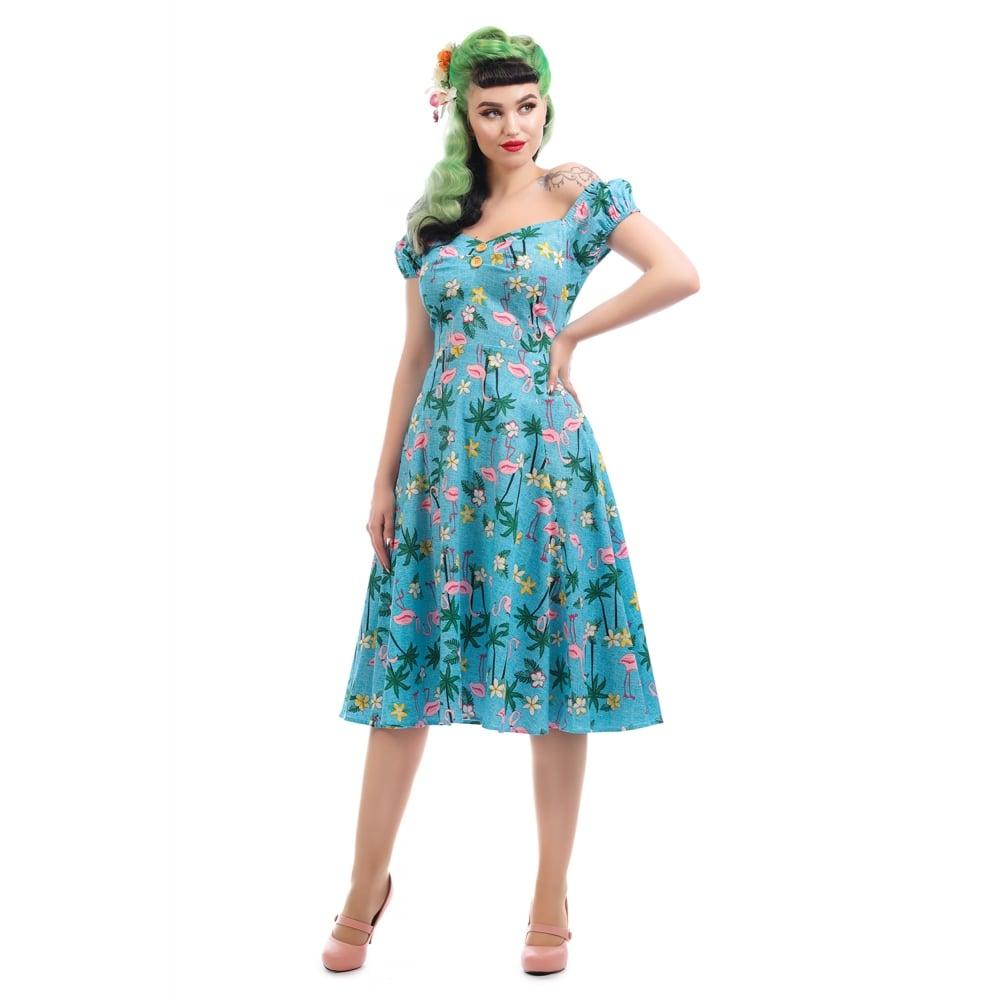 eb1761fe88 Collectif Vintage Dolores Blue Tropical Flamingo Swing Dress SZ 8-22 1950S