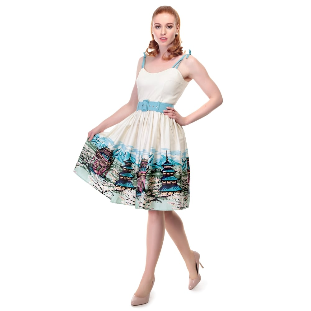 d045a1d67e4 Collectif Vintage Jade Scenic Mountain Border Swing Dress Sz 8 - 22 ...