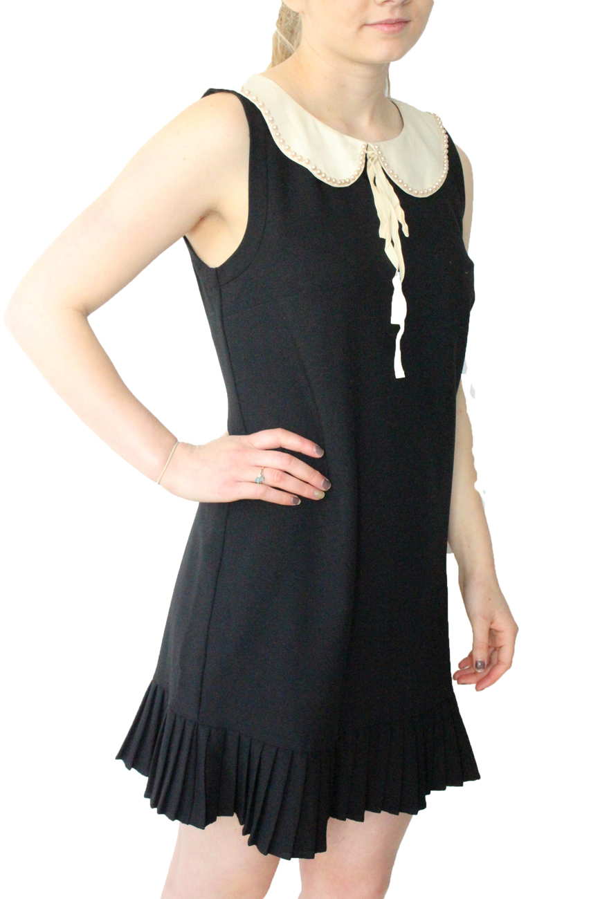 Details about Darling Black Katy Dress S-XL UK 10-16 RRP 75 Pearl Peter Pan  Collar 1960s