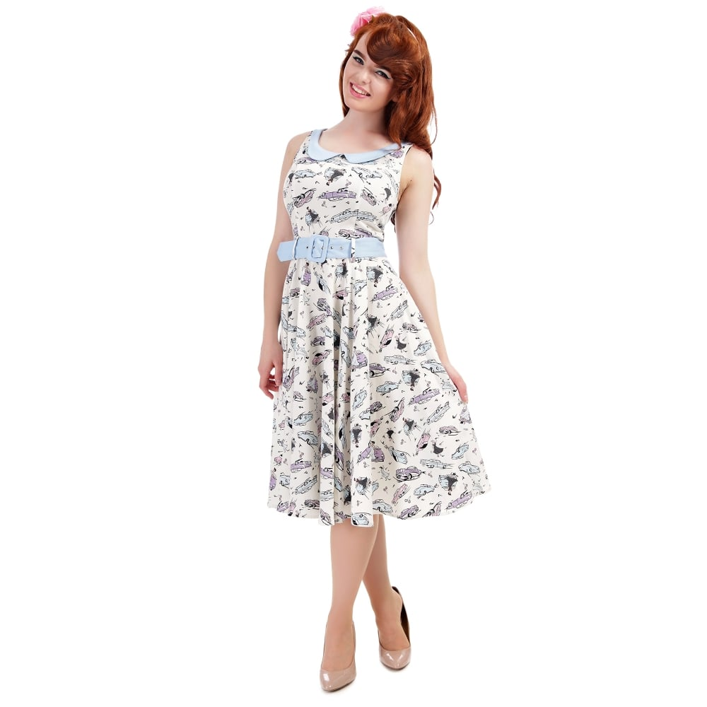Collectif Vintage Mainline Candy Gingham Swing Dress  Sz 8-22 1950s Pastel