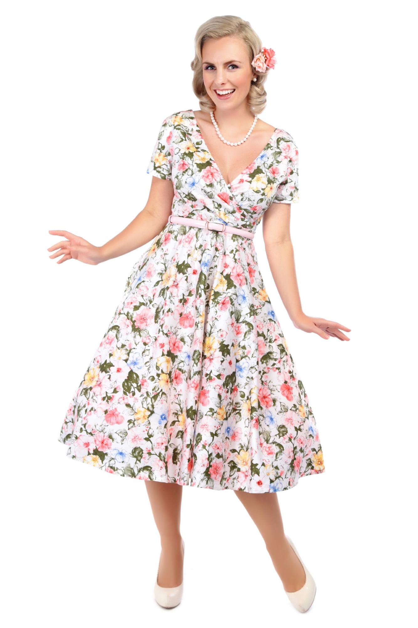 de2dd3fab015 COLLECTIF VINTAGE ARTISTIC FLORAL MARIA DRESS 8-22 FLARED 1950S | eBay