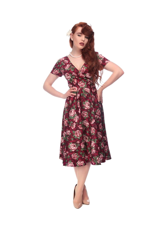 7a4a805d6d8b COLLECTIF VINTAGE MARIA SWING DRESS 8-18 1950S BURGUNDY BLOOM | eBay